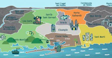 carte de barcelone divisée en quartiers