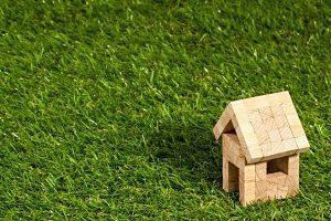petite maison en bois dans l'herbe