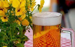 verre de bière sur une table près d'une fleur jaune