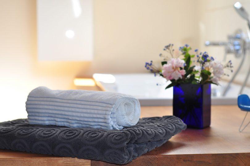 serviettes roulées et pot de fleur