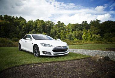 voiture blanche stationnée dans l'herbe