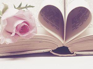 pages de livres en forme de coeur avec une rose