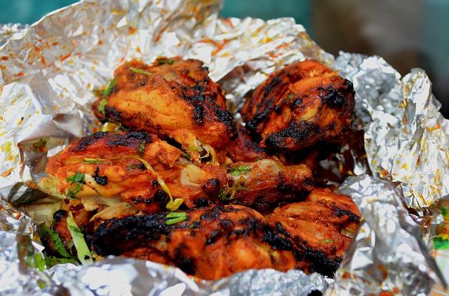 poulet tandoori dans de l'alu