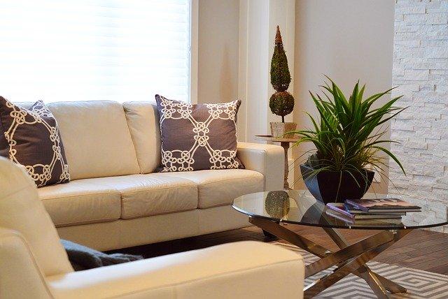 salon avec table et canapé
