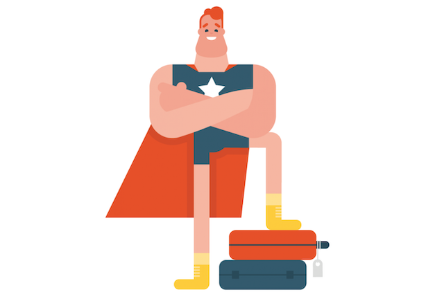 super héros avec un pied sur des bagages