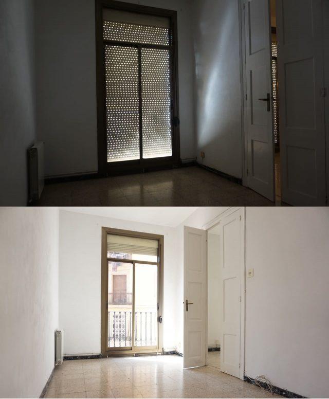 pièce d'appartement avec fenêtre et porte